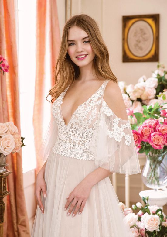 Sweetheart Gowns Style 11089 Deep V-neck A-line Lace and English Net Gown with Flutter Sleeves