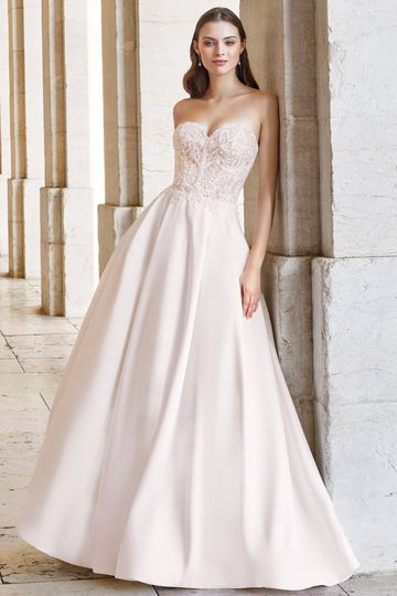 Adore by Justin Alexander Style 11143 Strapless Ball Gown with Lace Bodice and Pleated Mikado Skirt