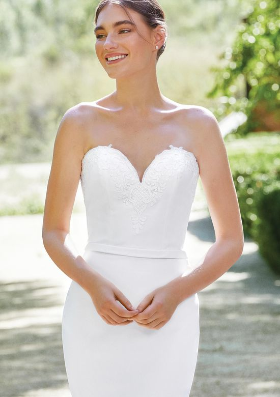 Sincerity Bridal Style 44192 Sweetheart Crepe Fit and Flare Gown with Lace Illusion Train