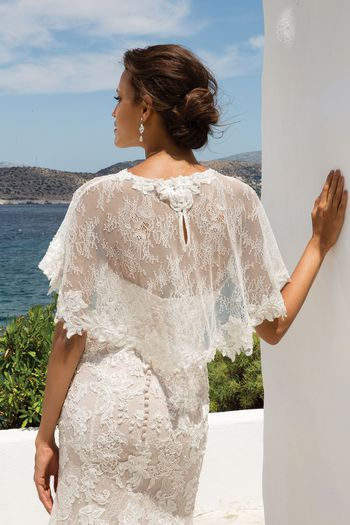 Justin Alexander Chantilly Lace Cape with Scalloped Hem