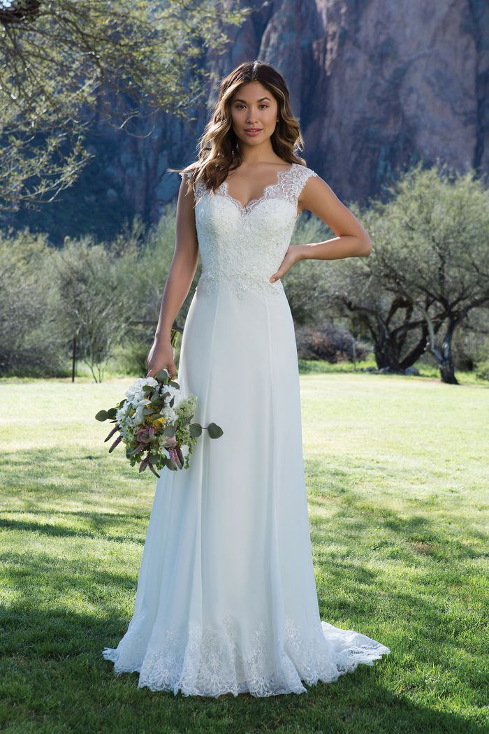 Sweetheart Gowns Romantic Lace and Chiffon Gown with Scalloped Low Back