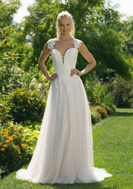 Sweetheart Gowns Style 11020 Queen Anne Neckline A-line Gown with Tulle Skirt