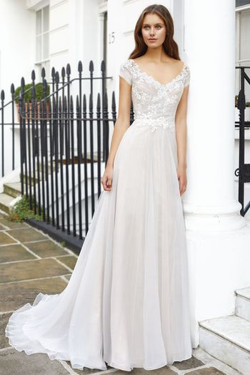 Adore by Justin Alexander Style 11127 A-Line Gown with English Net Skirt and Appliqued Pleated Bodice