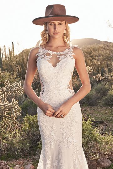 Lillian West Style 6485 Hand-Placed Lace Fit and Flare with Illusion Side Cut Outs