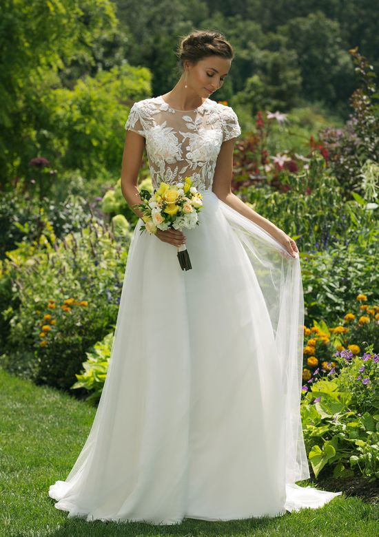 Sweetheart Gowns Style 11025 Slim A-line Crew Neck Gown with Natural Waistline