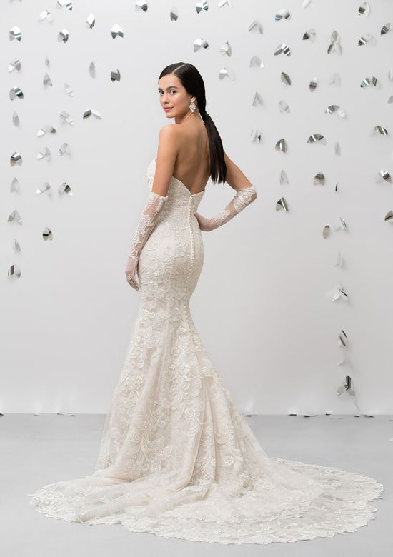 Justin Alexander Signature Style 99018 Allover Lace Strapless Fit and Flare Gown