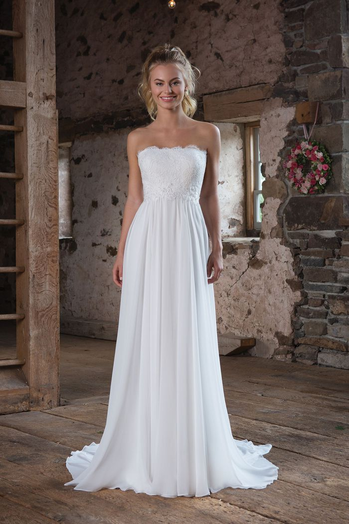 Sweetheart Gowns Style 1103 Lightweight Chiffon Gown with Eyelash Lace
