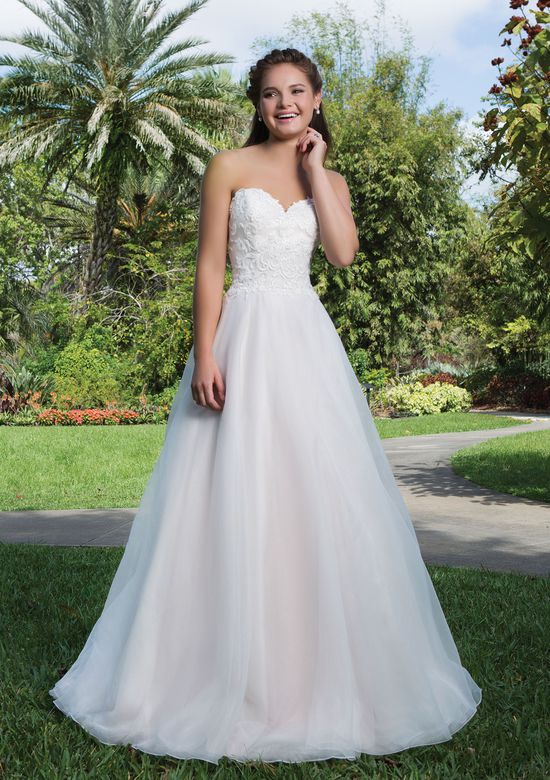 Sweetheart Gowns Style 6132 Lace, Organza Ball gown accented with a Sweetheart neckline