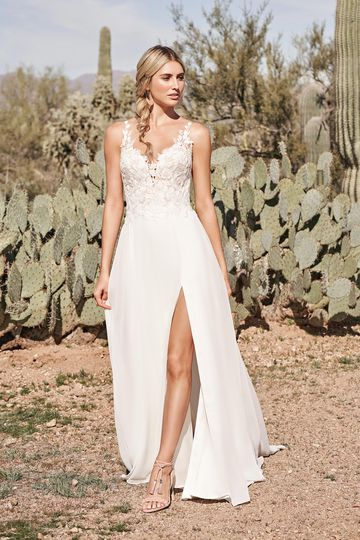 Lillian West Style 66154 A-Line Dress with Chiffon Skirt and Thigh High Slit