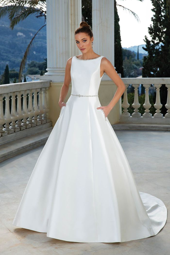 Justin Alexander Style 88109 Mikado Ball Gown with Beading at Pockets