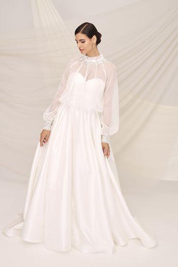 Justin Alexander Signature Style 99120 PERISSA Silk Dupion Sweetheart Ball Gown with Organza Blouson Jacket