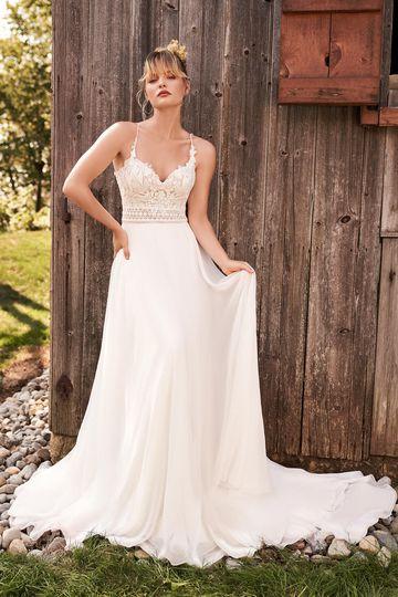 Lillian West Style 66186 Spaghetti Strap Bridal Dress with Lace Bodice and Chiffon Skirt