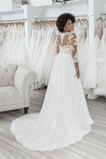 Sincerity Bridal Style 44266PS Plus Size Chiffon A-Line Gown with Three Quarter Length Sleeves