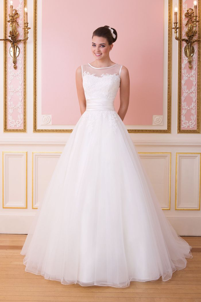 Sweetheart Gowns Style 6007 Illusion Sabrina Neckline Ball Gown with Cummerbund