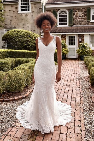 Sincerity Bridal Style 44286 Beaded Lace Fit and Flare Gown with V-Neckline and Low Back