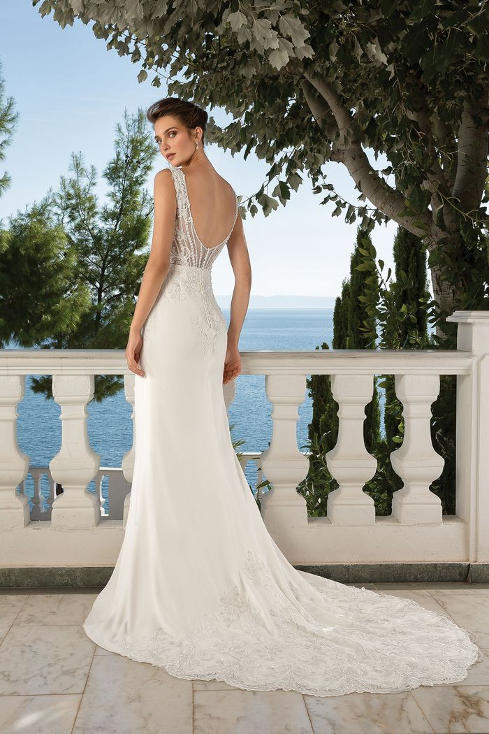 Justin Alexander Style 88097 Venice Lace and Crepe Fit and Flare Gown