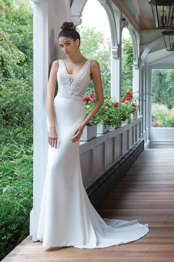 Sweetheart Gowns Style 11046 Crepe Fit and Flare Gown with Allover Lace Bodice