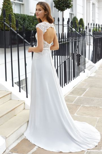 Adore by Justin Alexander Style 11122 Scalloped Sabrina Neckline Gown with Crepe Skirt and Keyhole Back