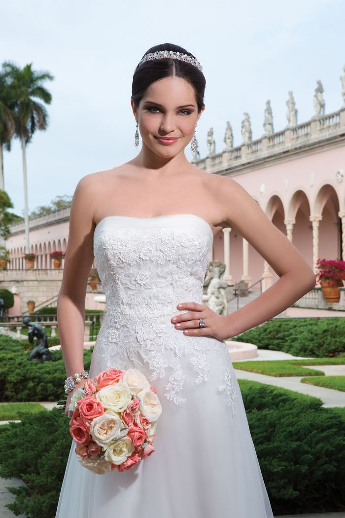 Sweetheart Gowns Style 6058 Tulle, embroidered lace, 3D flowers A-line dress highlighted with a strapless neckline