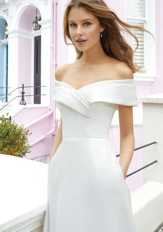 Adore by Justin Alexander Style 11115 Crepe A-Line Wedding Gown with Wide Off The Shoulder Cuff and Pockets