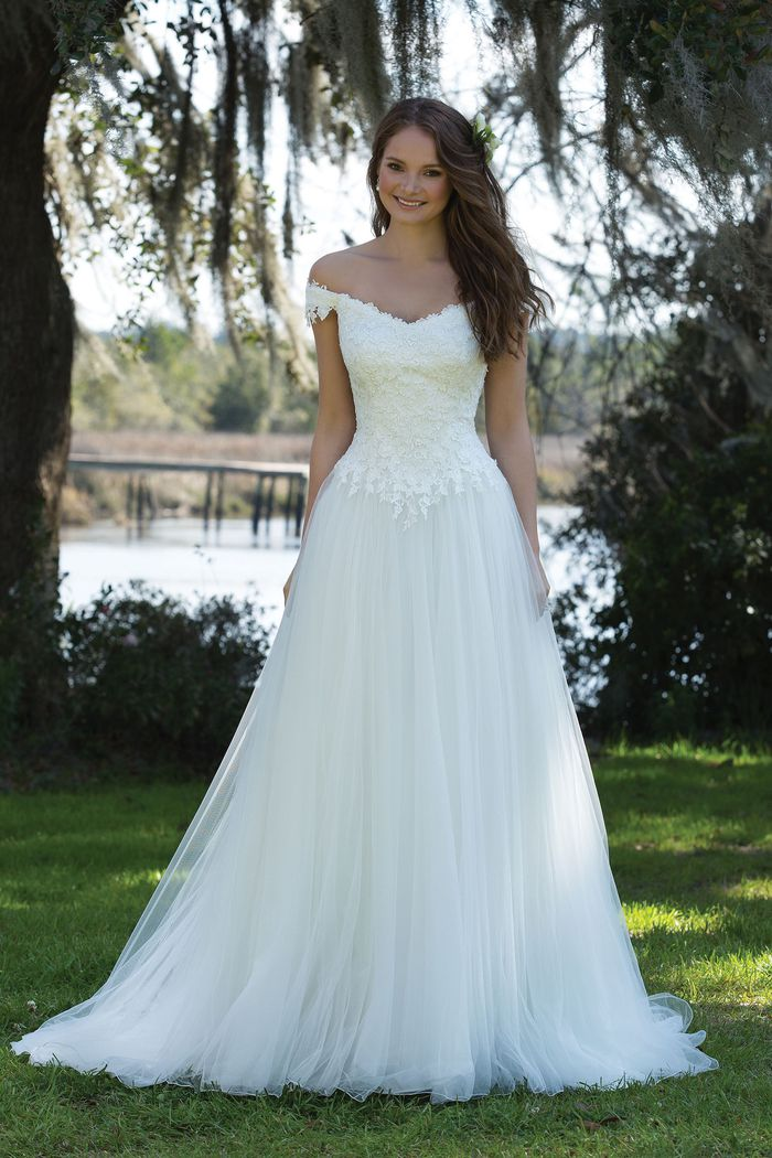 Sweetheart Gowns Style 6186 Off the Shoulder Lace Bodice with Tulle Skirt