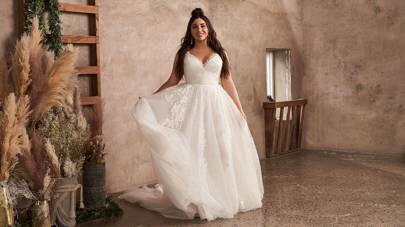 - Style 66142PS: Plus Size Tulle A-Line Dress with V-Neckline