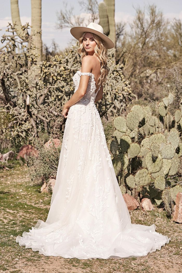 Lillian West Style 66176 Off the Shoulder A-Line Gown with Dimensional Lace