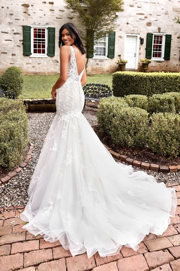 Sincerity Bridal Style 44281 Cotton Lace Trumpet Bridal Gown with Plunging V-Neck