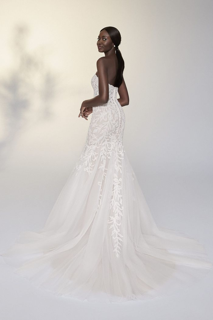 Justin Alexander Signature Style 99207 Sylvie Beaded Trumpet Gown with Straight Neckline
