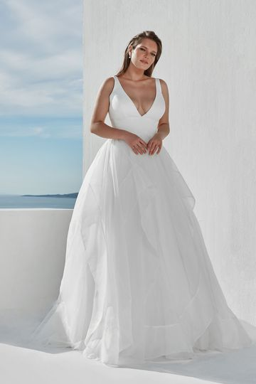 Justin Alexander Style 88093PS Clean Plus Size Ball Gown with Deep V Illusion Neckline