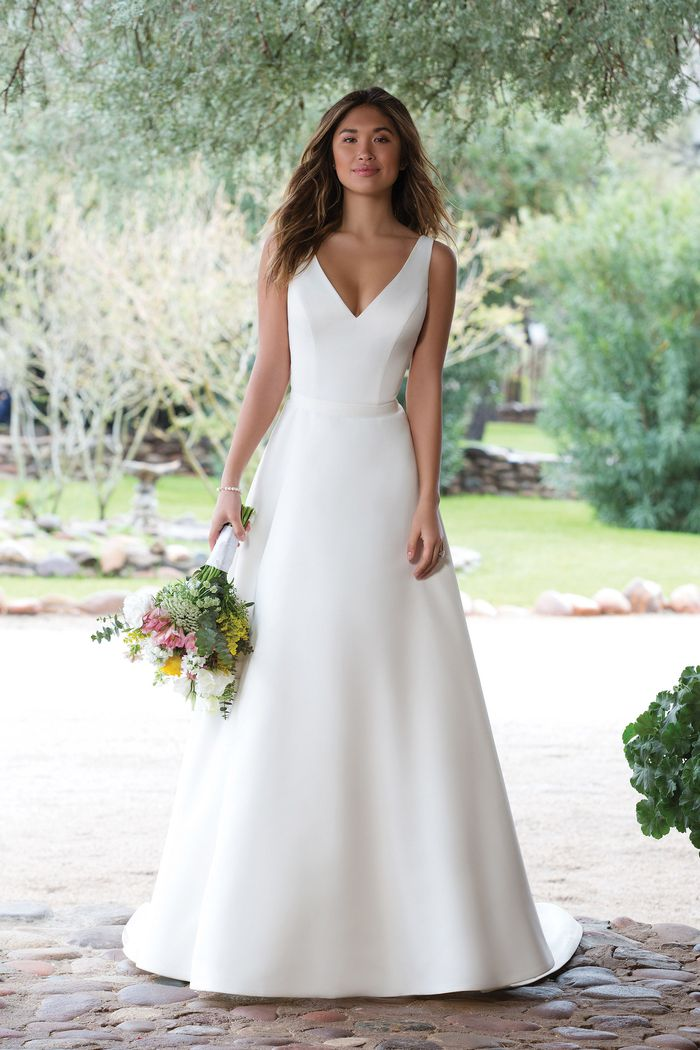 Sweetheart Gowns Style 1131 Satin V-Neck Gown with Illusion Lace Back
