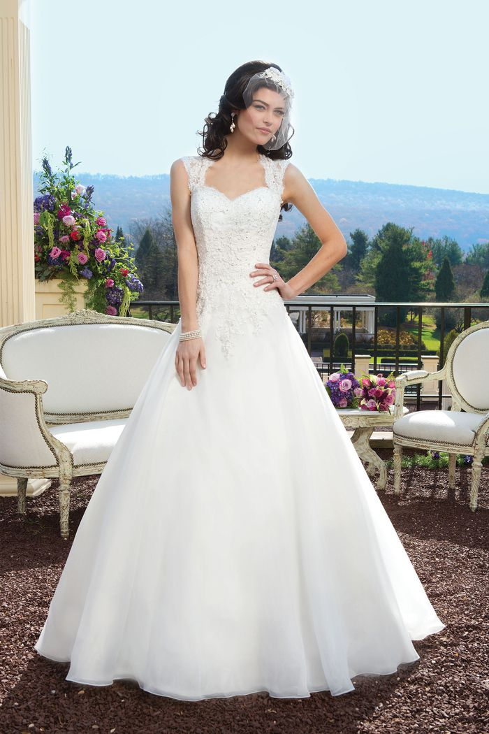 Sincerity Bridal Style 3809 Lace ball gown with a Queen Anne neckline