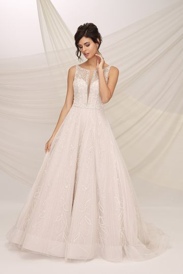 Justin Alexander Signature Style 99134 CATANIA Beaded A-Line Gown with Sparkle Tulle and Illusion Notch Neckline