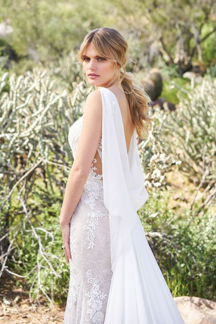 Lillian West Lace and Tulle Gown with Plunging V-Neck and Detachable Chiffon Train