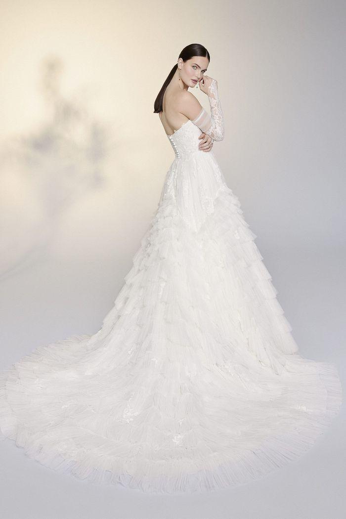 Justin Alexander Signature Style 99201 Mirella Strapless English Net Ruffle Skirt Ball Gown