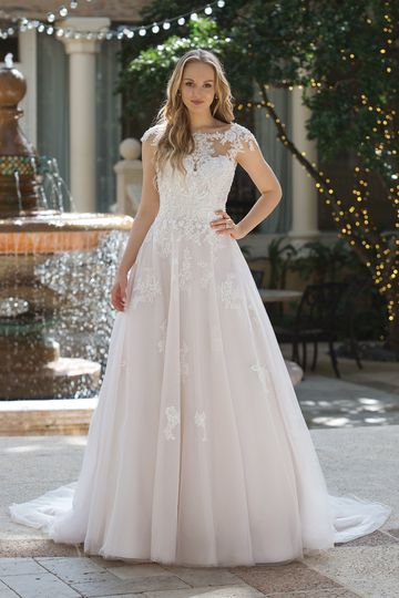 Sincerity Bridal Style 44101 Ball Gown with Illusion Sabrina Bodice and Low Back
