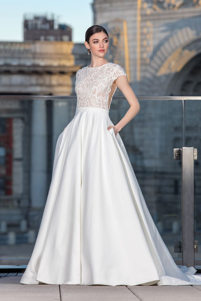 Justin Alexander Signature Style 99033 Lace Bodice Ball Gown with Cap Sleeves