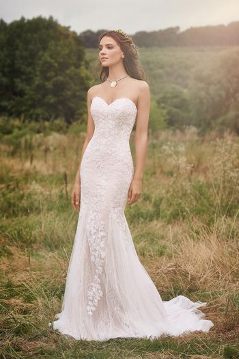 Lillian West Style 66141 Strapless Gown with Leaf appliqués and Tulle Godets