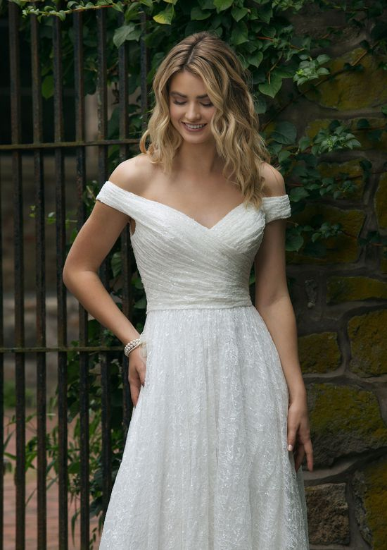 Sincerity Bridal Style 44049 Allover Ruched Lace Off the Shoulder A-Line Gown
