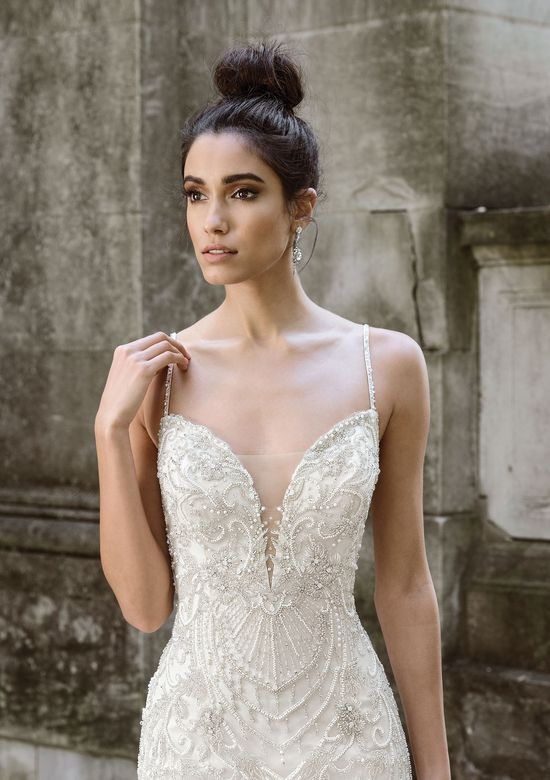 Justin Alexander Signature Style 9876 Plunging V-Neck Mermaid Gown