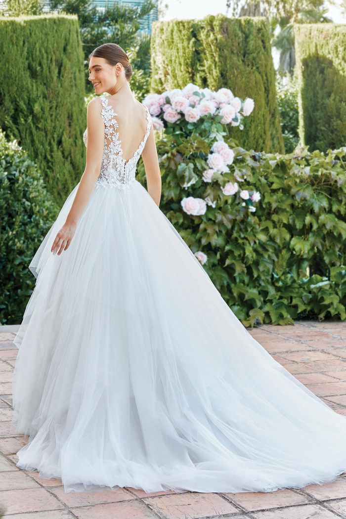 Sincerity Bridal Style 44205 Ball Gown with Beaded Lace Illusion Bodice and Handkerchief Skirt
