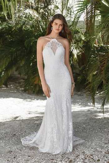 Lillian West Style 66044 Fit and Flare with Illusion Lace Jewel Neckline