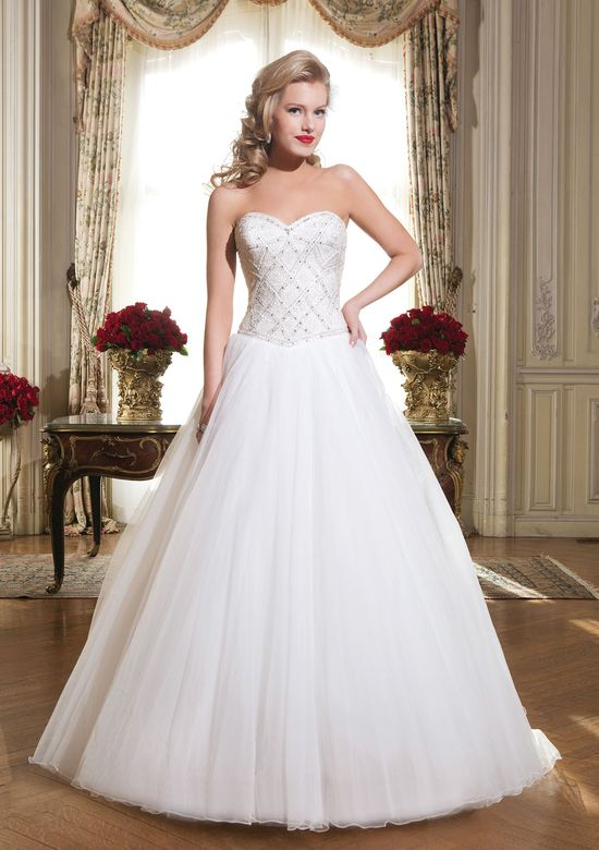 Justin Alexander Style 8777 Tulle; art deco beaded bodice ball gown adorned by a sweetheart neckline