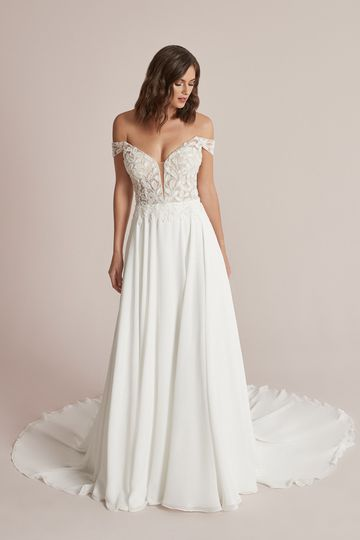 Justin Alexander Style 88204 Carina Off the Shoulder Chiffon A-Line Wedding Dress with Beaded Bodice