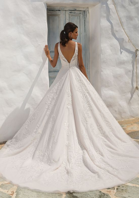 Justin Alexander Style 8953 English Net and Tulle V-Neck Gown with Beaded Lace Appliqués