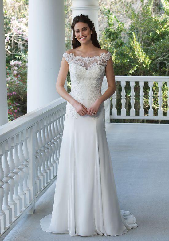 Sincerity Bridal Off the Shoulder Gown with Beaded Illusion Back and Chiffon Skirt