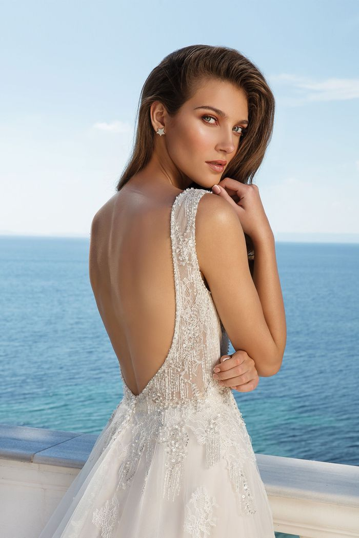 Justin Alexander Style 88091 Beaded Chantilly Lace A-Line Dress