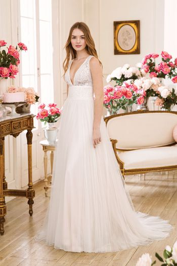 Sweetheart Gowns style 11022 V-Neck Slim A-Line with Illusion Lace Bodice