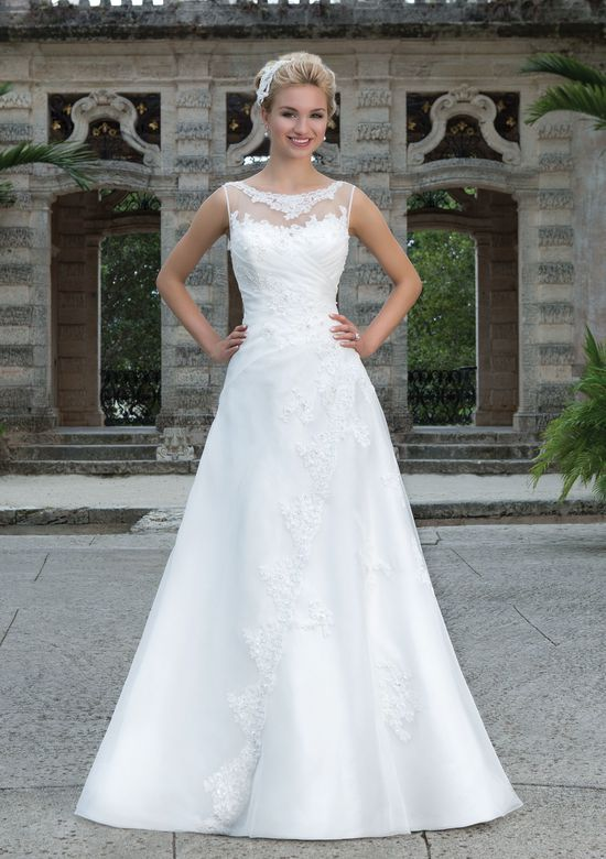 Sincerity Bridal Style 3884 Asymmetrically Draped Organza Gown with Beaded Lace Accents