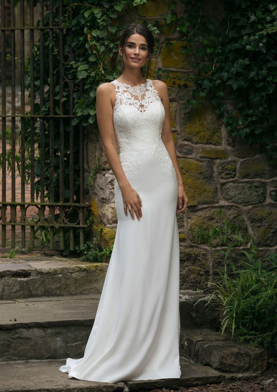 Sincerity style 44048 Jewel Lace Illusion Neckline Fit and Flare Gown